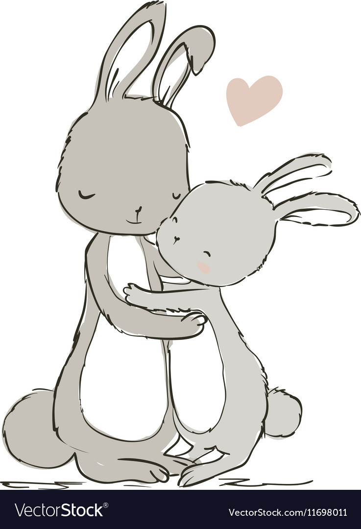 Sweet hares - mom and kid vector image