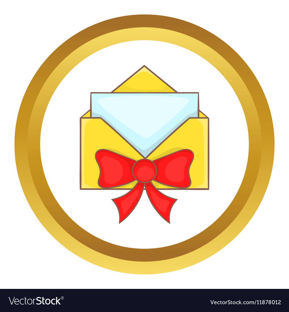 Christmas envelope with bow icon vector image