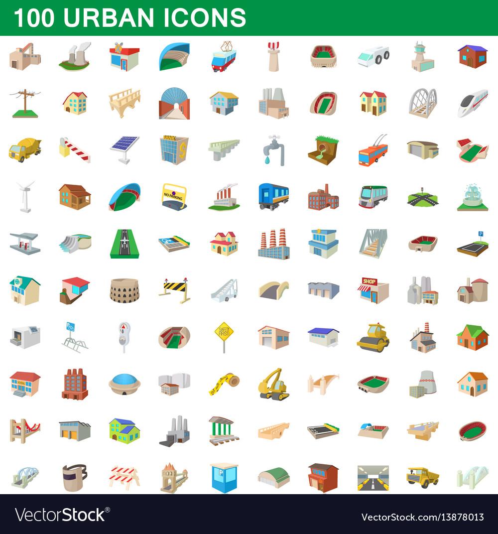 100 urban icons set cartoon style vector image