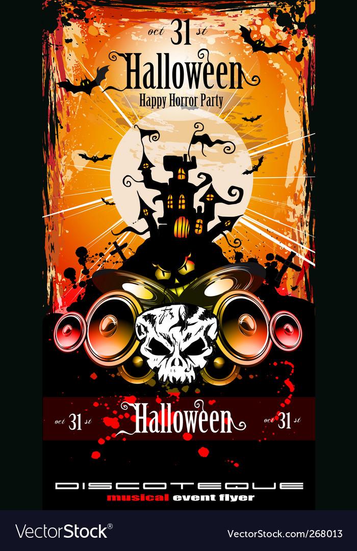 Halloween party disco flyer Vector Image