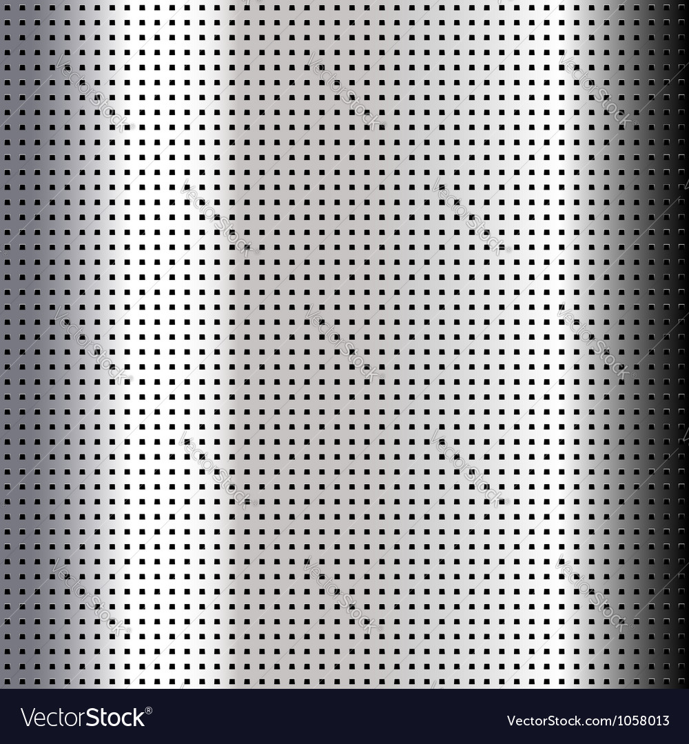 Metallic perforated chromium sheet vector image