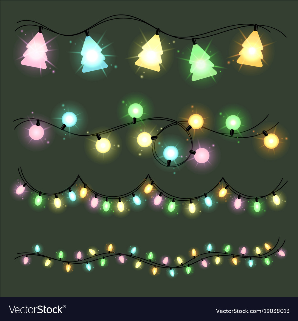 Set of christmas lamps garlands warm colour light Vector Image