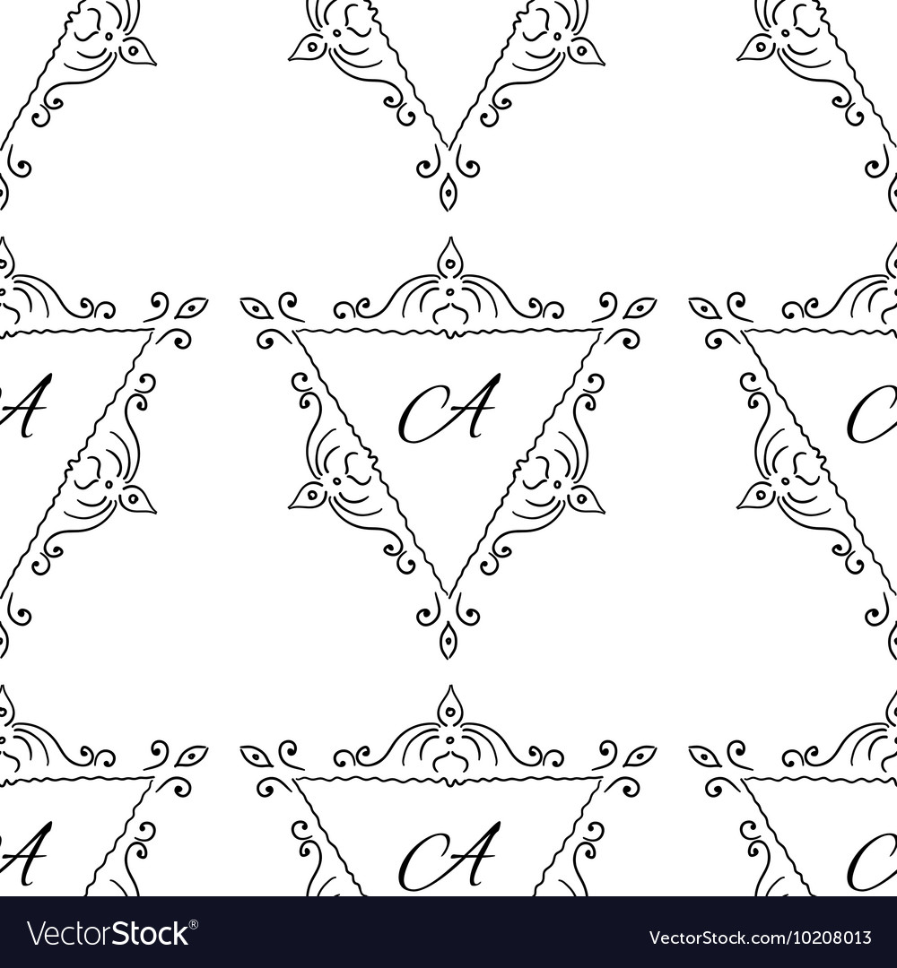 Vintage sketch seamless pattern with typography vector image