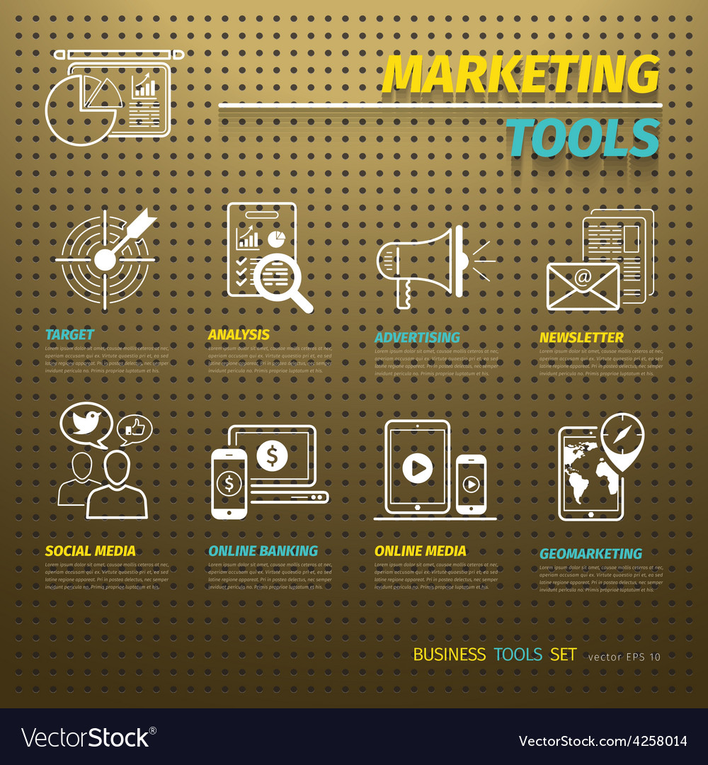 Marketing Tools on Brown Pegboard vector image