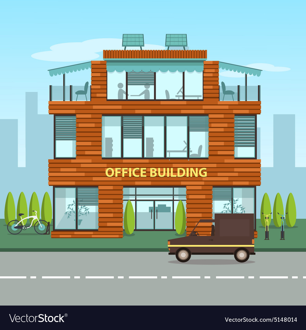 Modern office building in cartoon flat style Vector Image