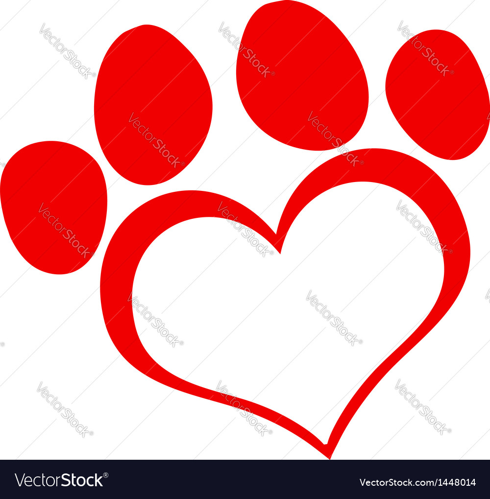 red love paw print royalty free vector image vectorstock dog paw print vector art free cat and dog paw print vector