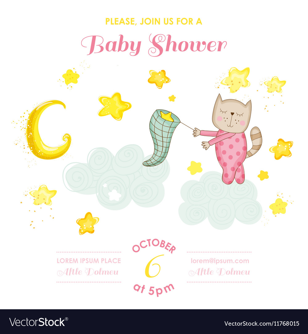 Baby Shower or Arrival Card - Baby Cat Girl vector image