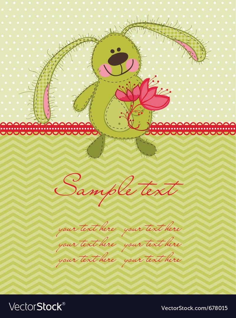 Cute bunny card vector image