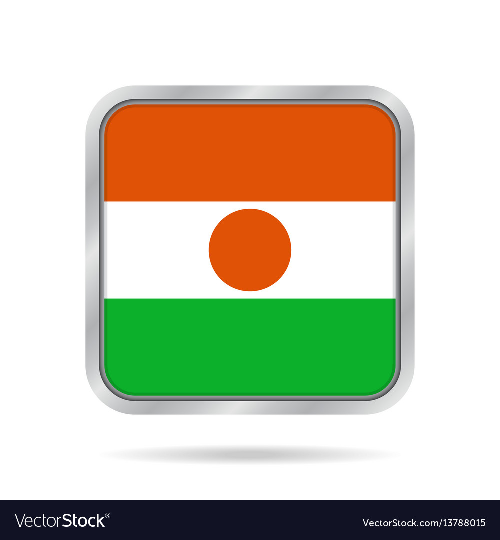 Flag of niger shiny metallic gray square button vector image