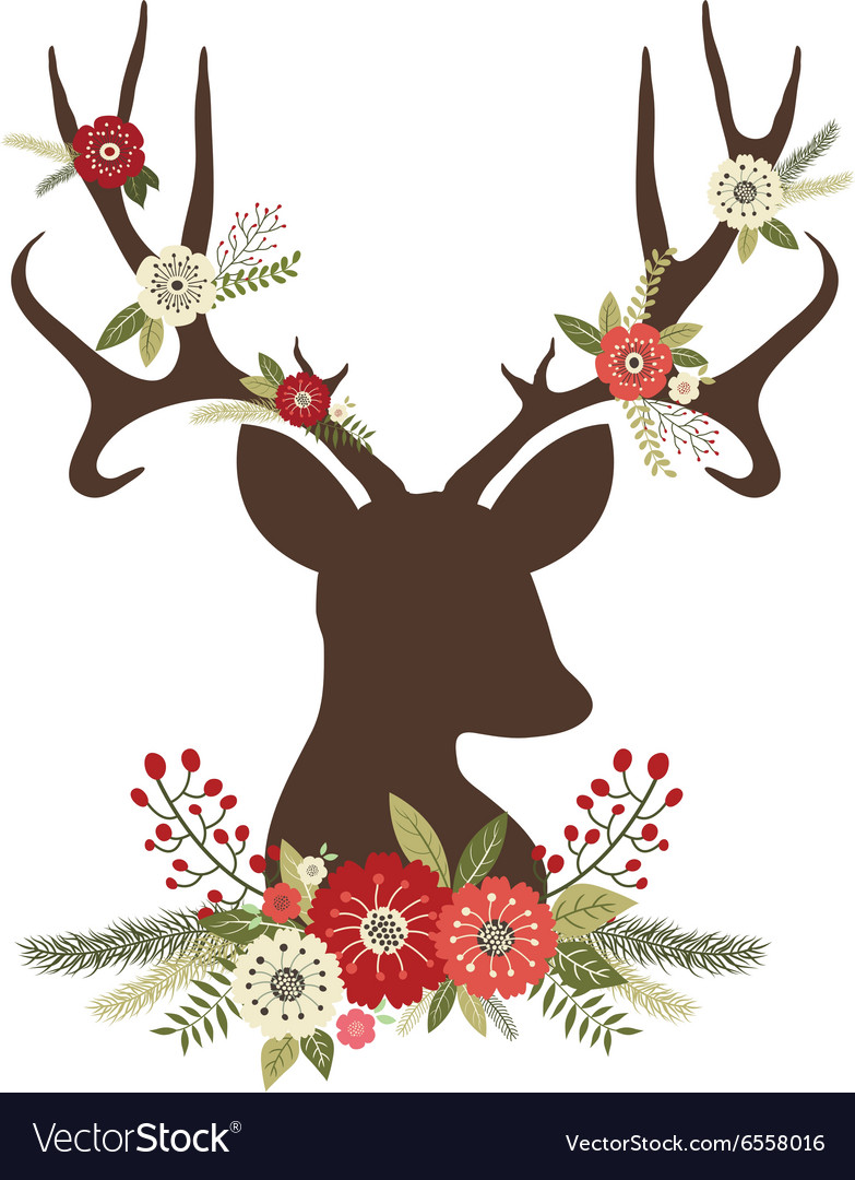 Christmas Deer Antlers with Flowers vector image
