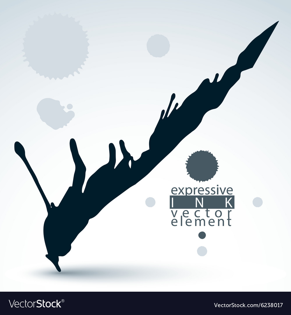 Black ink splash dirty graphic art element scanned vector image