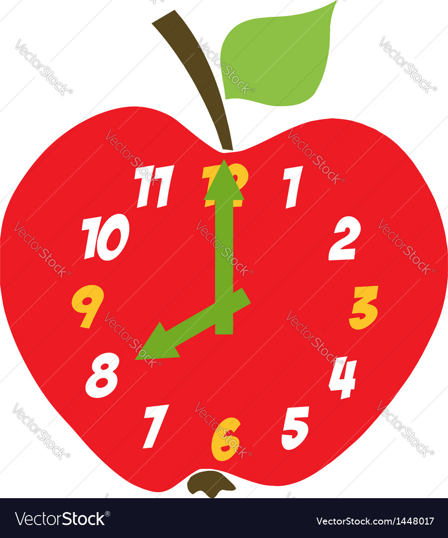 Red Apple Clock vector image