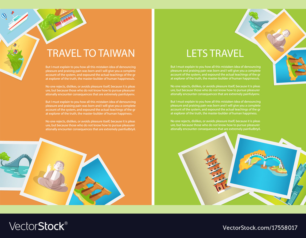 Two vertical cards travel to taiwan and lets go vector image