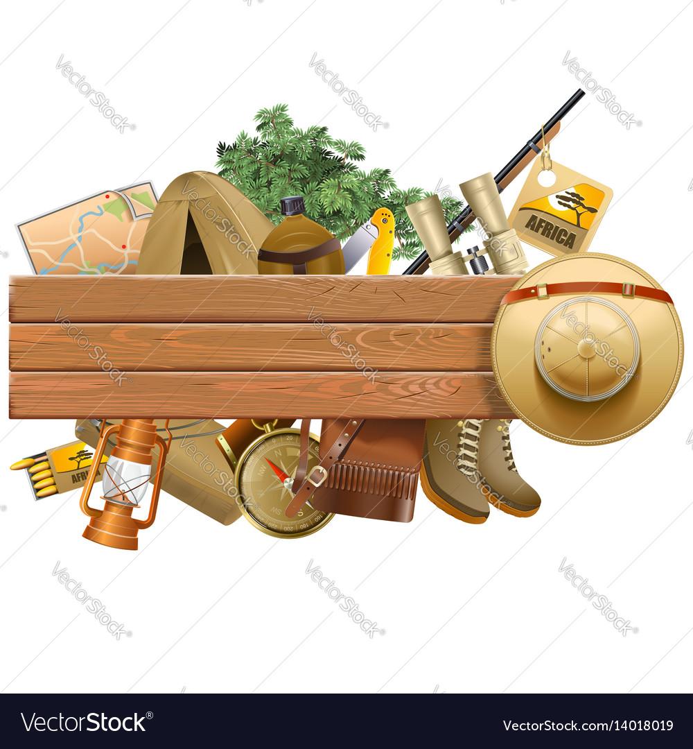 Board with safari hat vector image