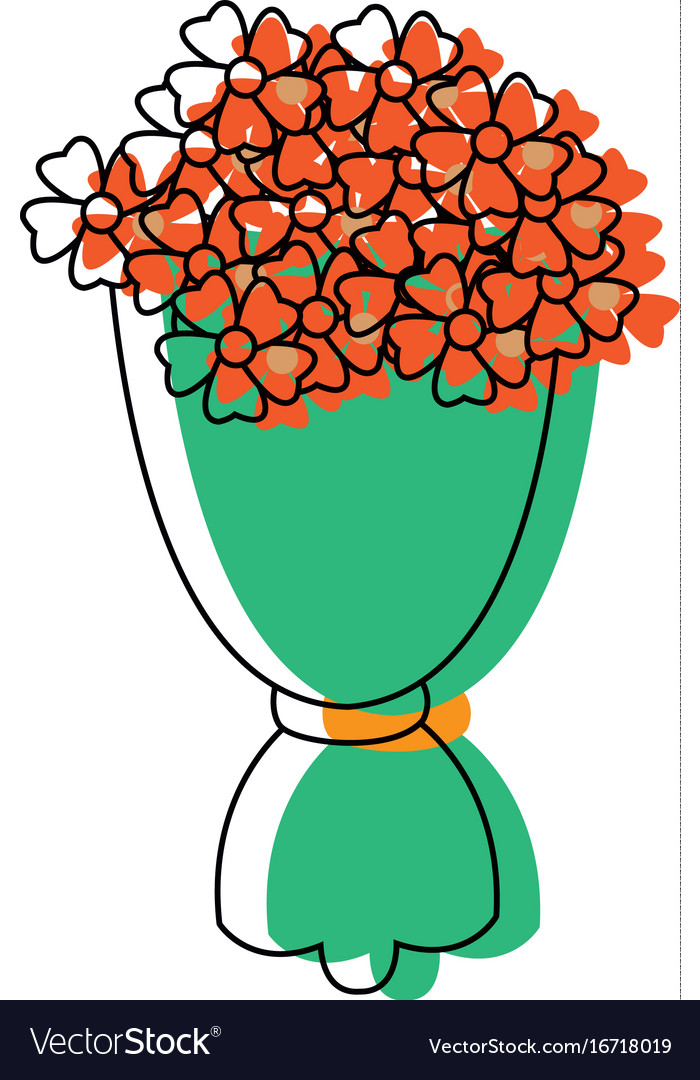 Bouquet flowers romantic ornament wrapped paper vector image mightylinksfo Gallery