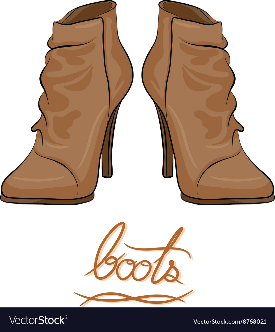 Modern fashion brown boots vector image