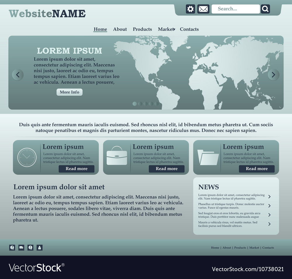 Web design elements in green and gray tones vector image