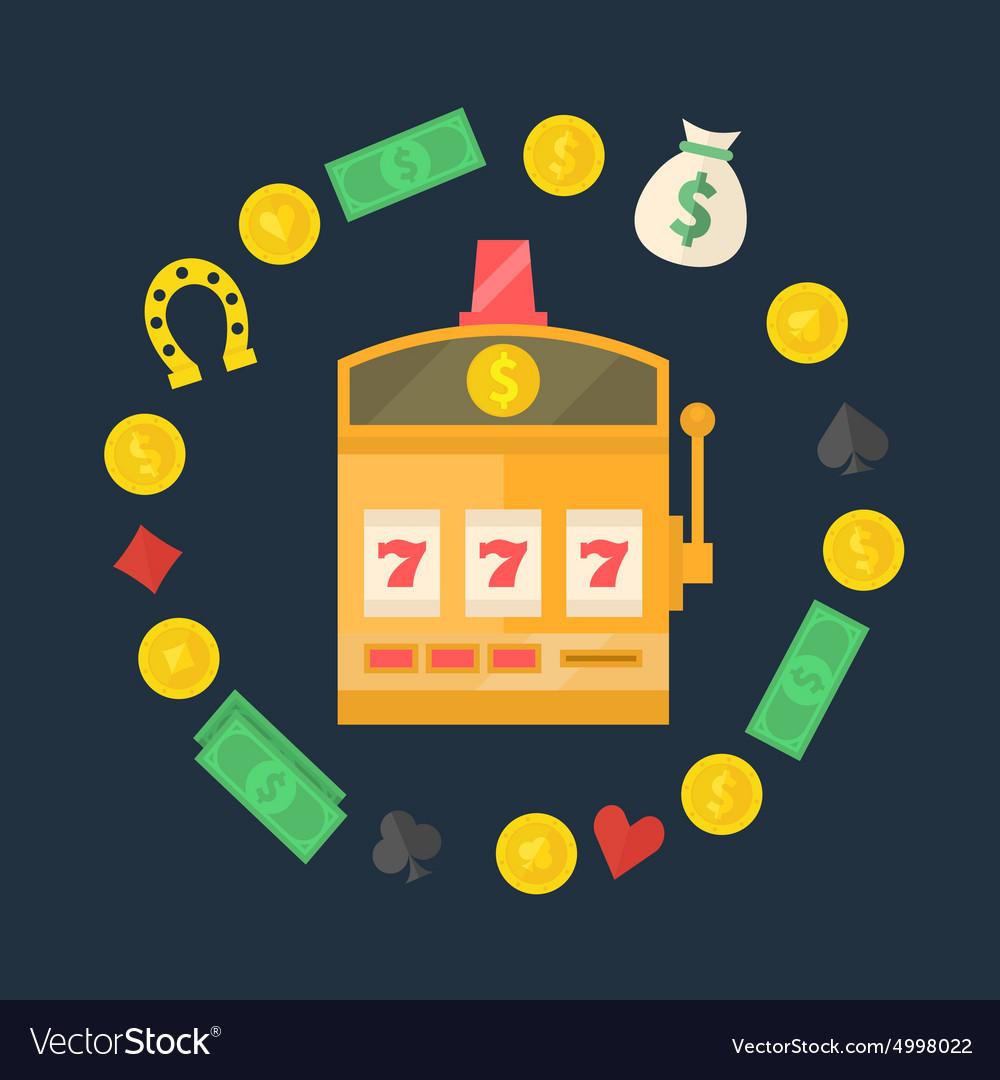 Slot machine logo or icon vector image