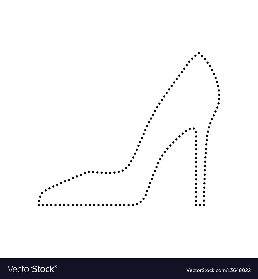 Woman shoe sign black dotted icon on vector image