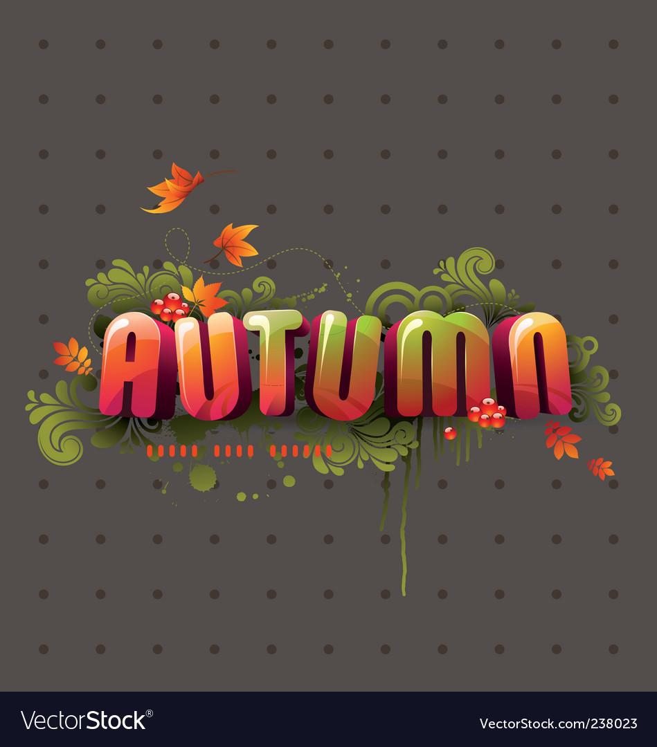 Colorful 3d autumn headline vector image