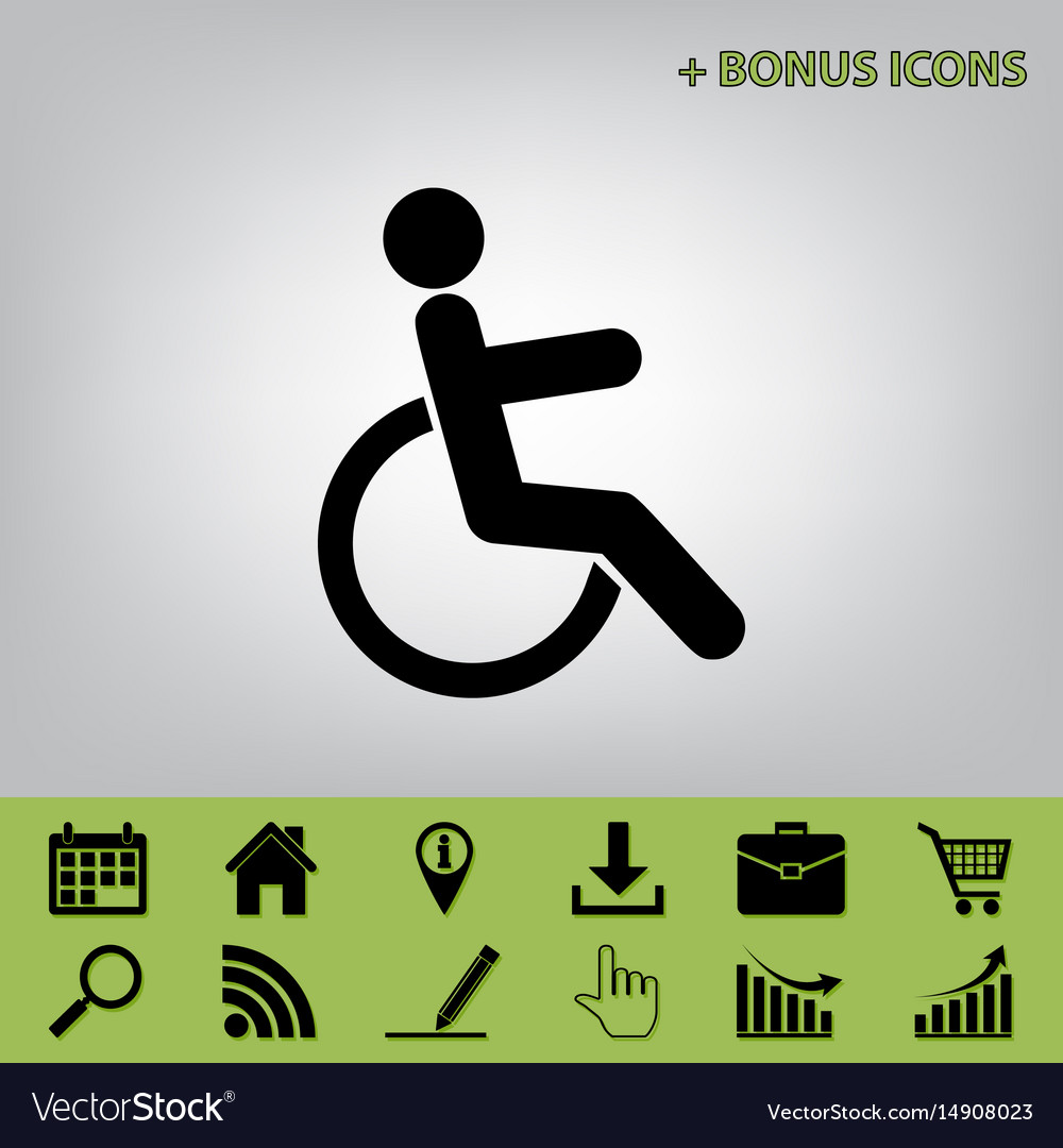 Disabled sign black icon at vector image