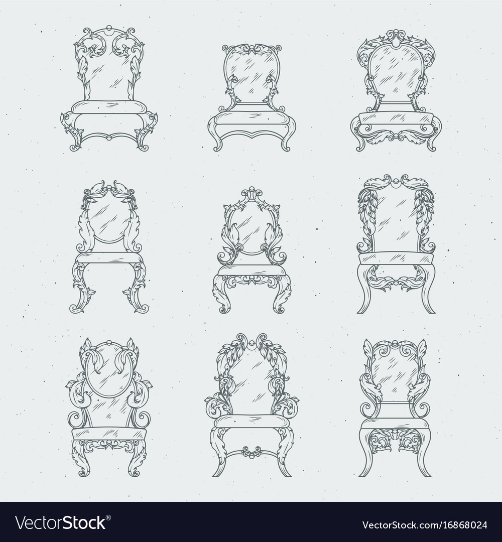 Antique italian chairs and armchair vector image