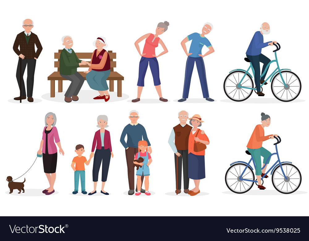 Charmant Old People In Different Activities Situations Vector Image