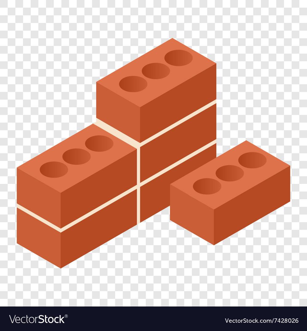 Bricks isometric 3d icon vector image