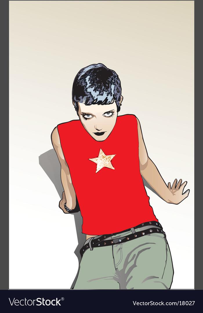 Punk pop star vector image