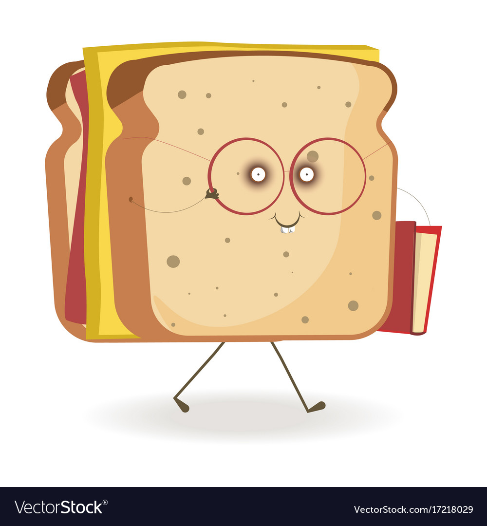 Cheerful sandwich with cheese in glasses with book vector image