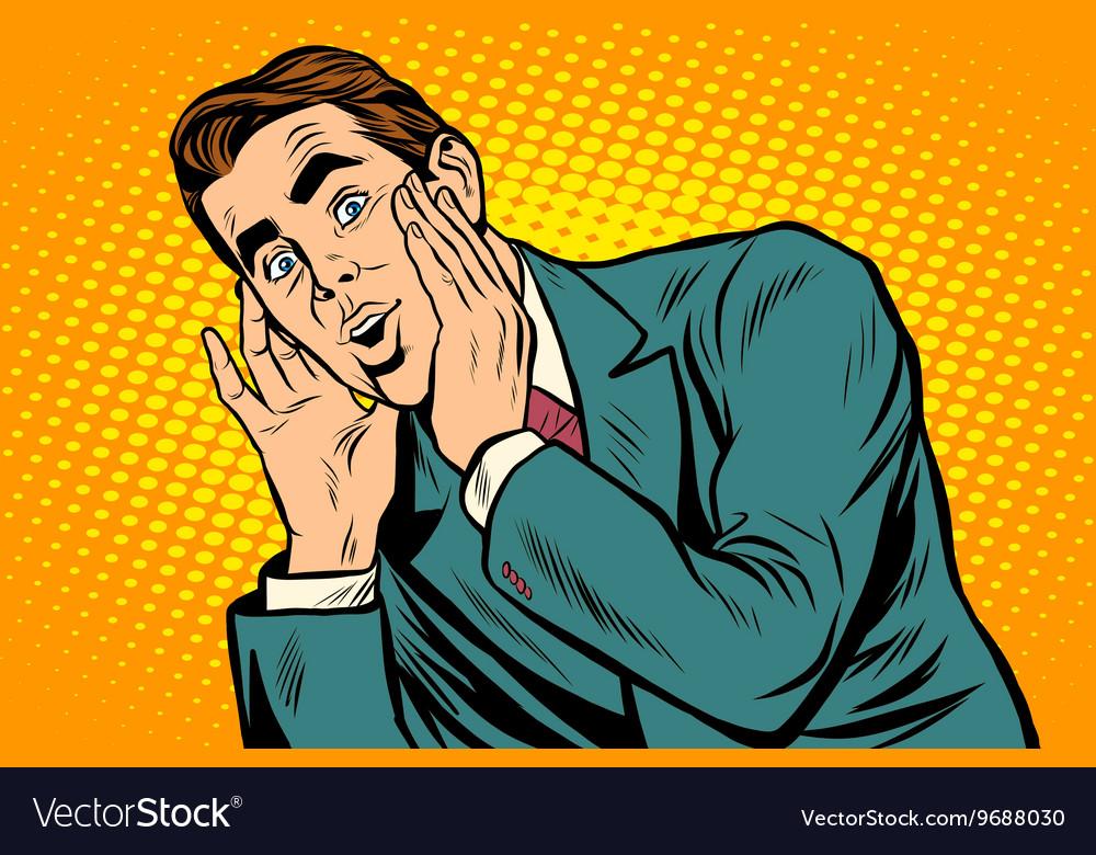 Surprised emotional pop art retro business man vector image
