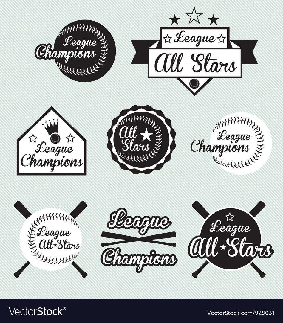 Baseball All Star Labels vector image