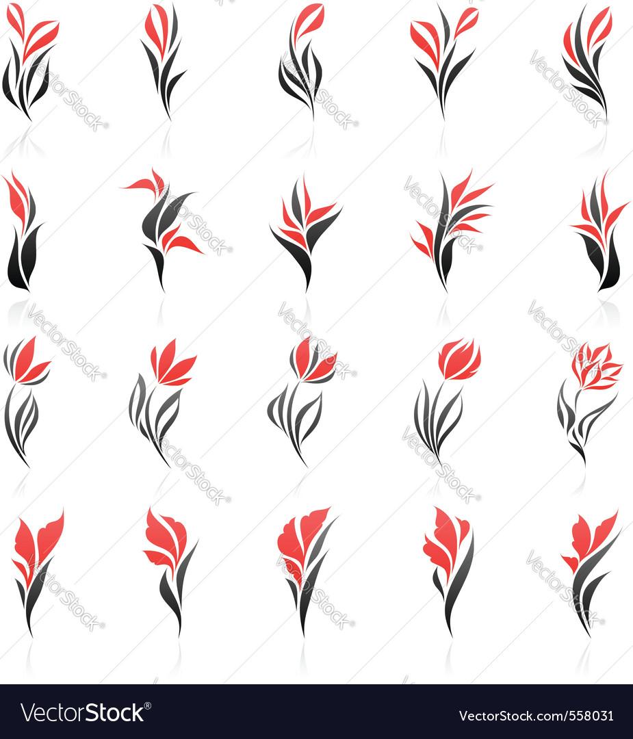 Flowers logo template set vector image
