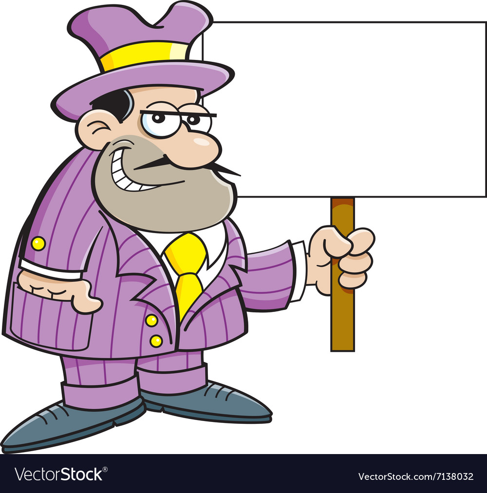 Cartoon gangster holding a sign vector image