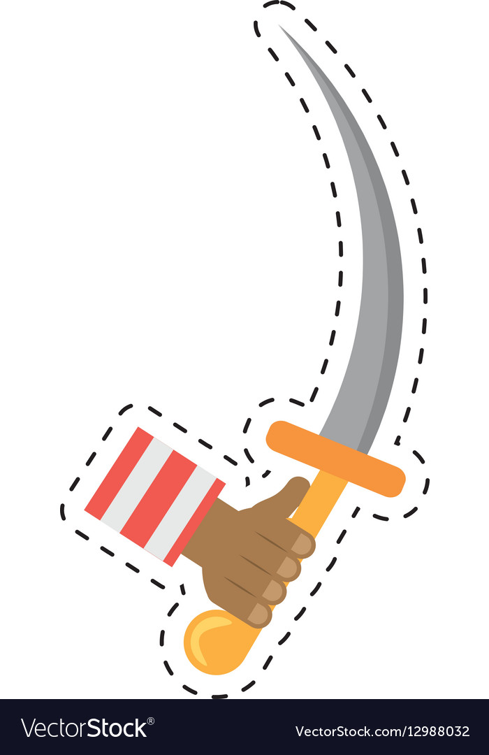 Hand hold pirate saber steel cutlass cut line vector image