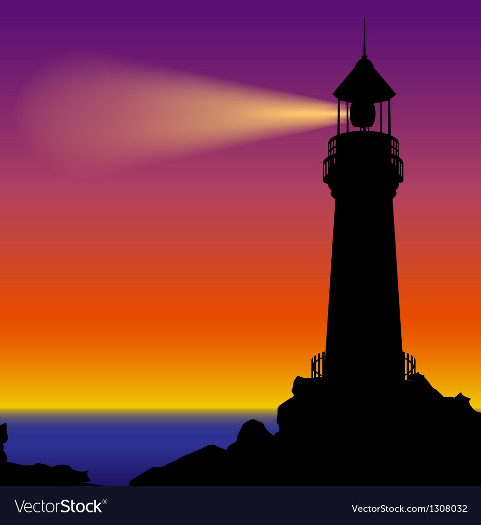 Lighthouse silhouette in sunset vector image