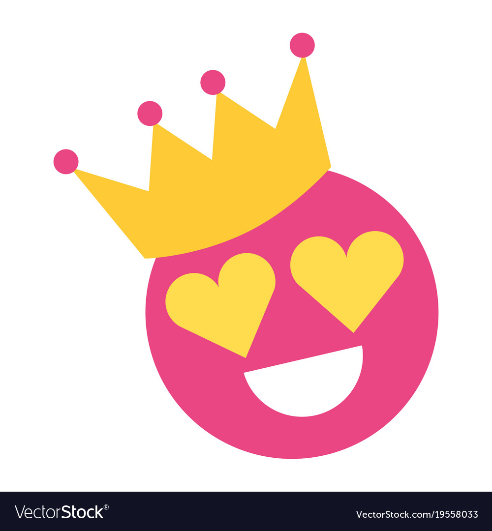 Smile emoticon hearts shape eyes with crown vector image smile emoticon hearts shape eyes with crown vector image biocorpaavc Gallery