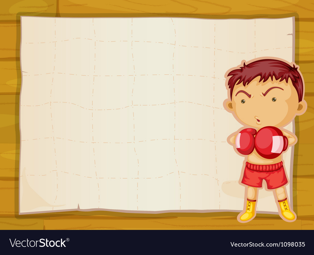 Paper and boxer boy vector image