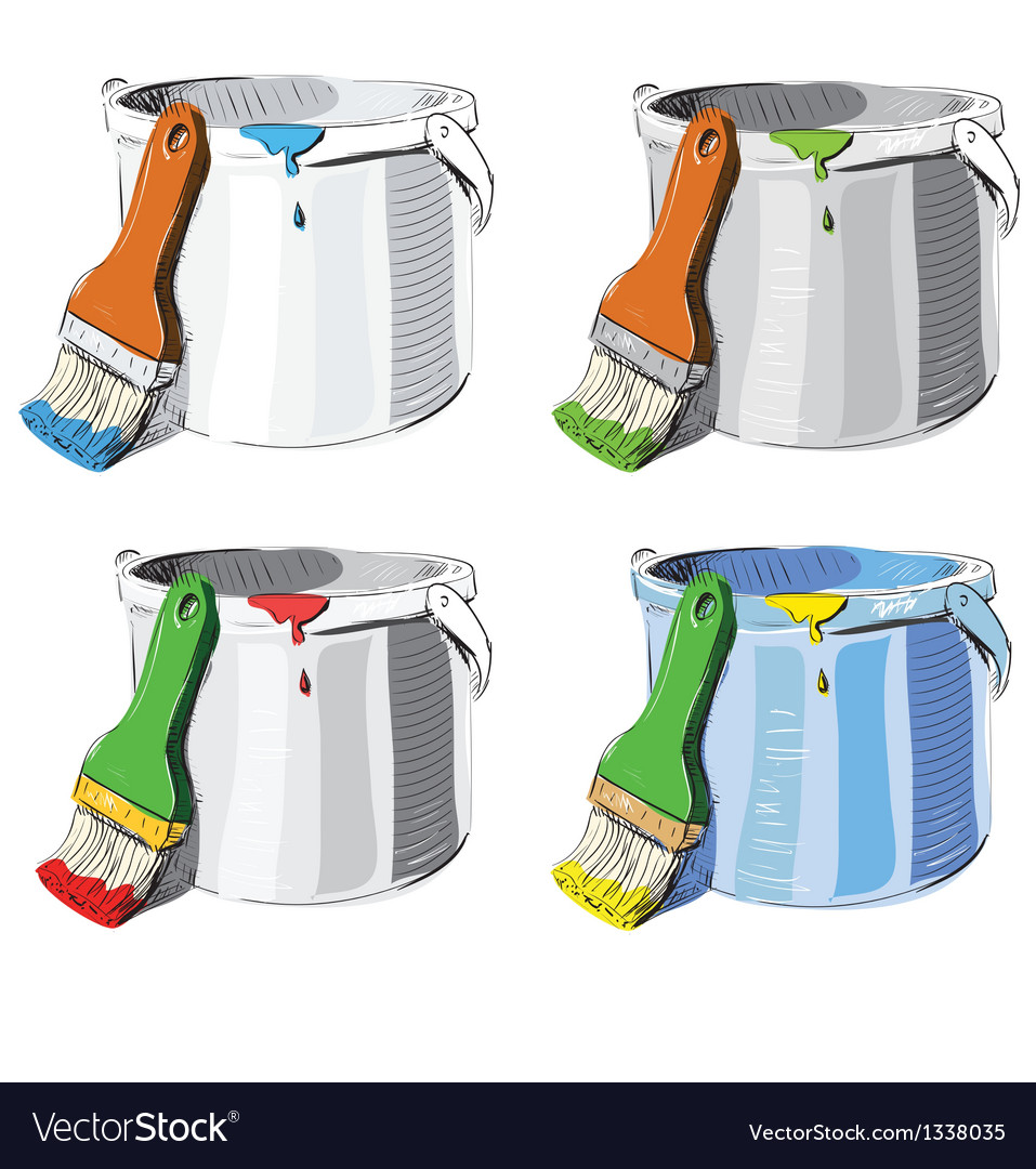 Paint bucket and brush in different colors set vector image