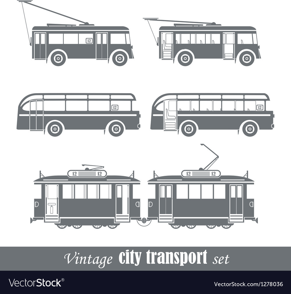 Vintage city transport vehicles set vector image