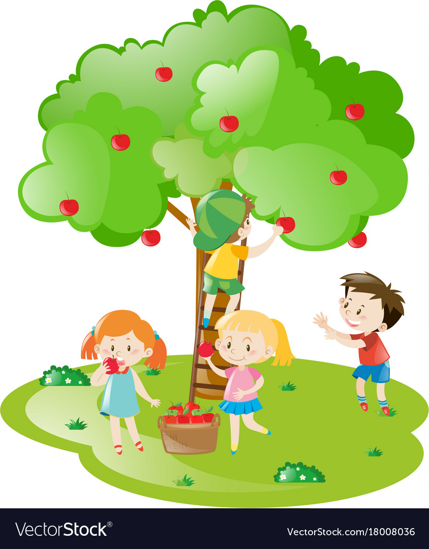 Kids picking apples from apple tree Royalty Free Vector