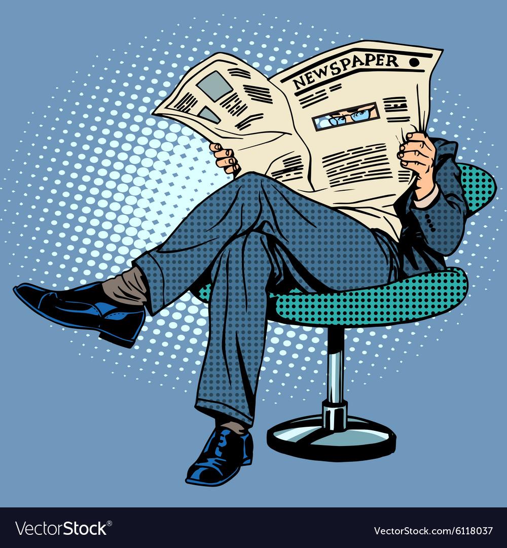 Newspaper reading man vector image