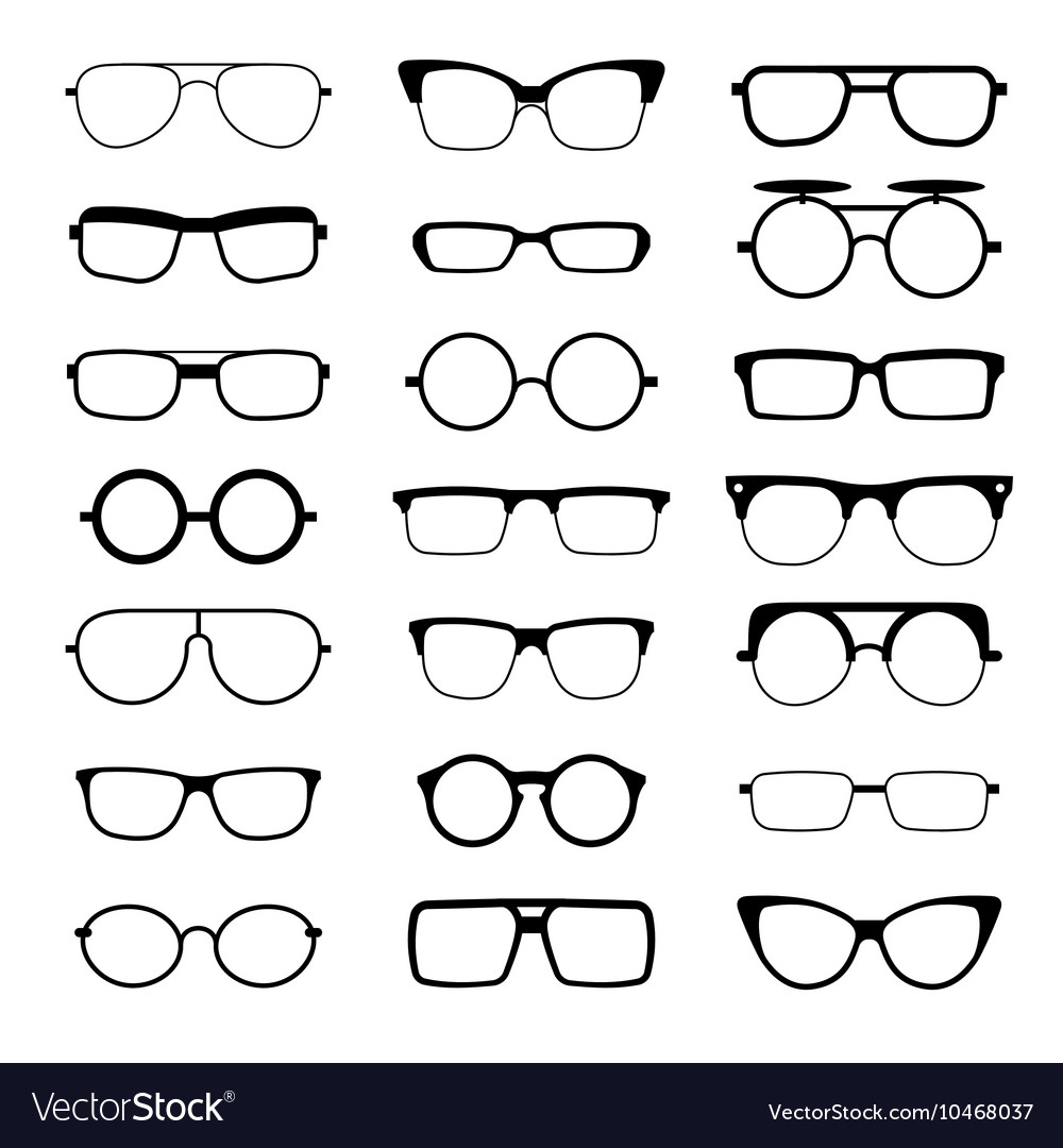 Sunglasses eyeglasses geek glasses different vector image