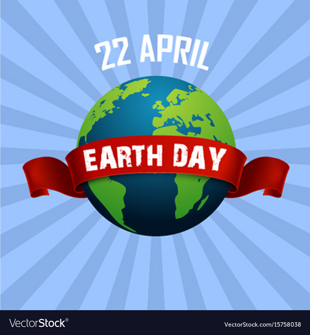 Earth day april 22 and red ribbon vector image