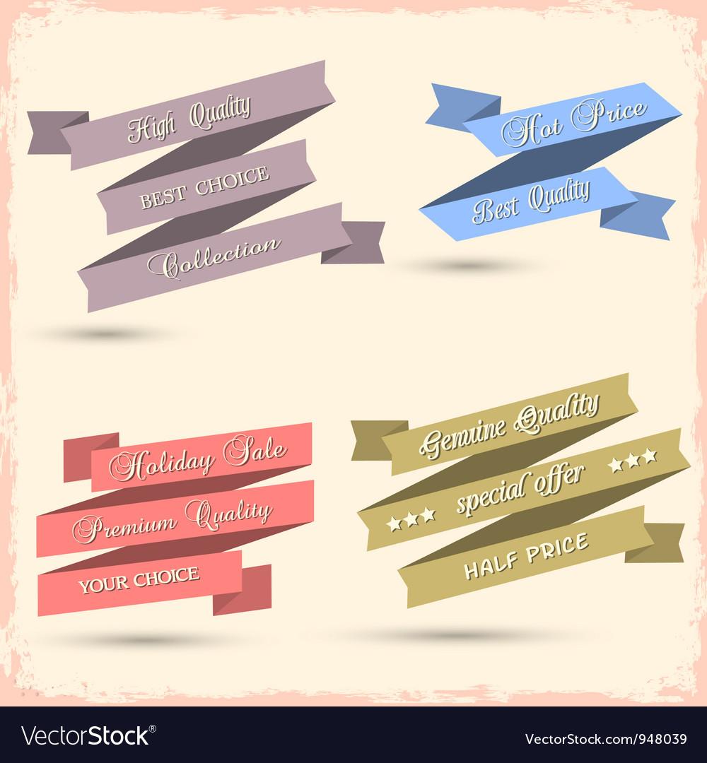 Set of vintage ribbons for design vector image
