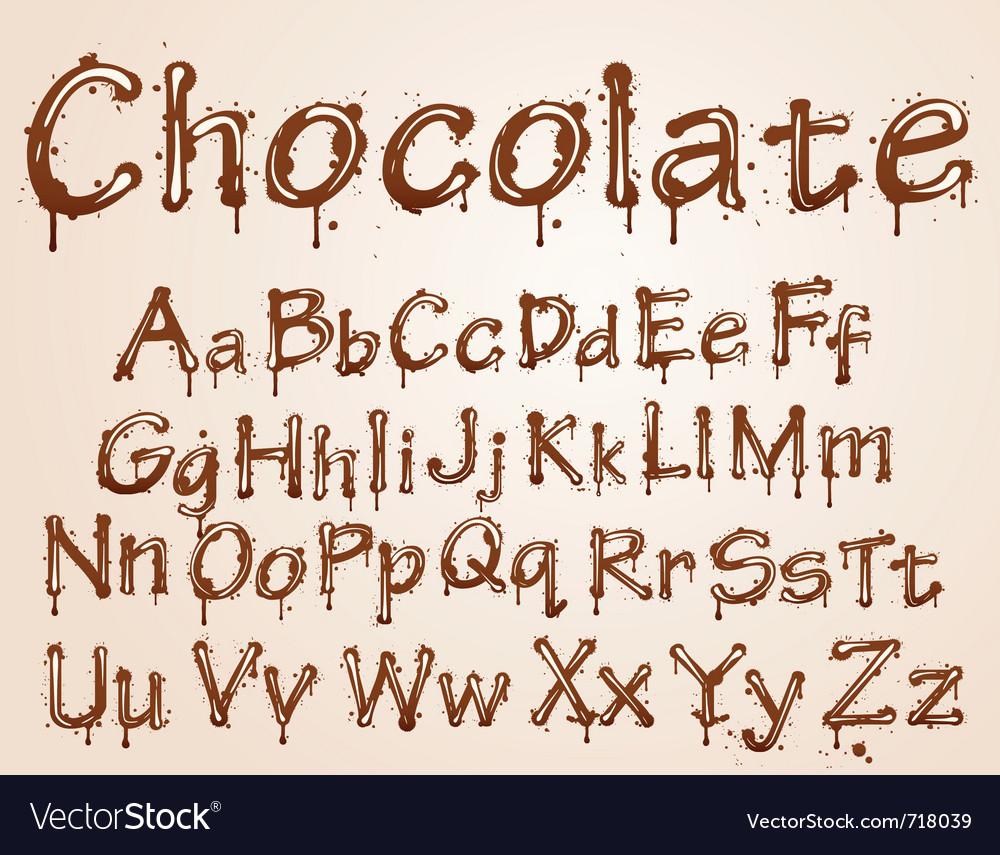 Chocolate alphabet font vector image