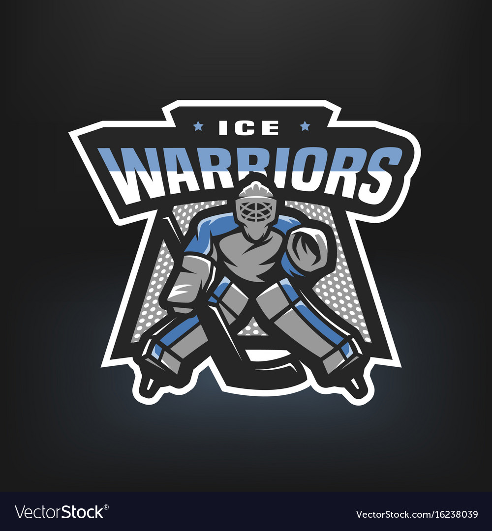 Hockey goalkeeper logo vector image
