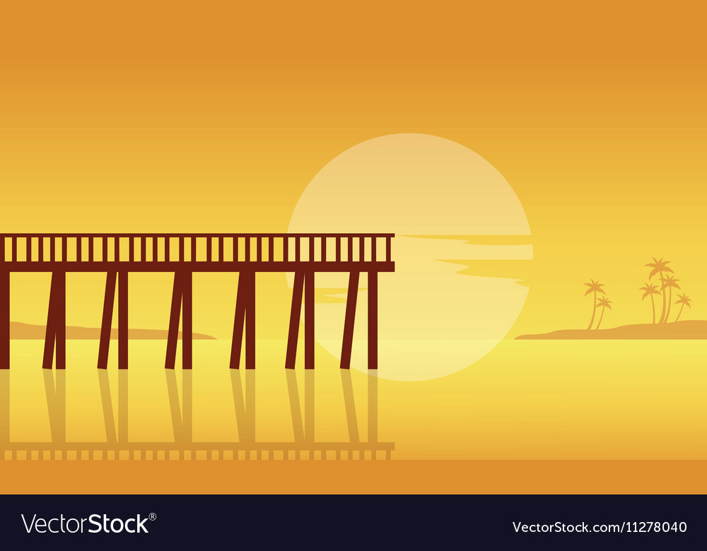 Silhouette of seaside with pier landscape vector image