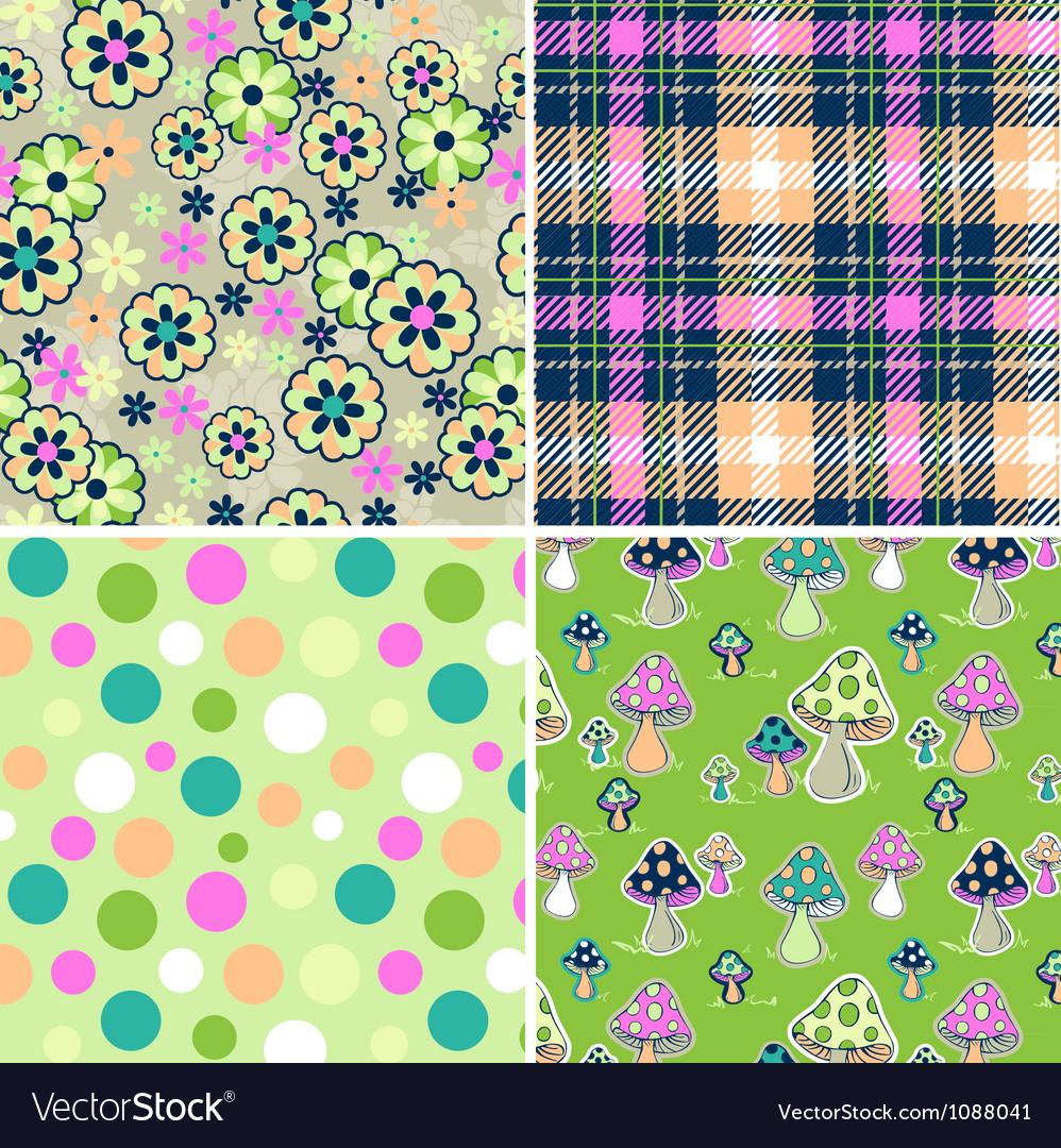 Colorful seamless print set vector image