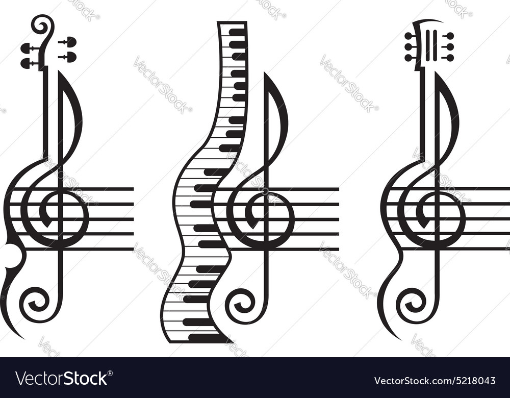 Violin guitar piano and treble clef Royalty Free Vector Image ...
